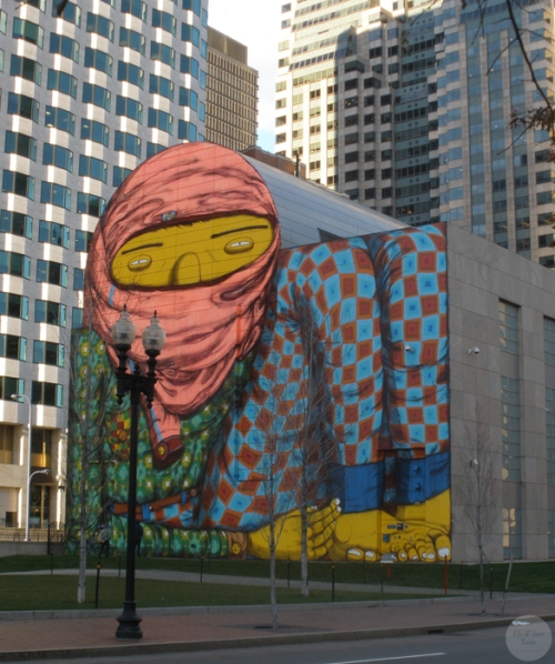 Os Gemeos - street art near South Station