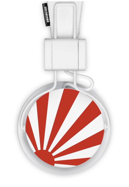Unbanears Plattan headphones - Japanese rising sun