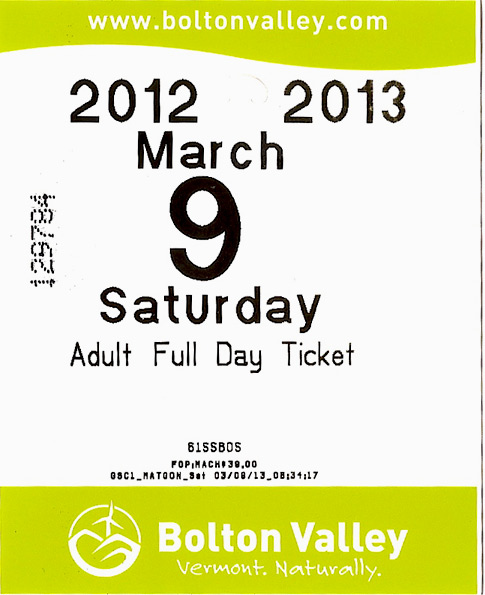 Bolton Valley lift ticket