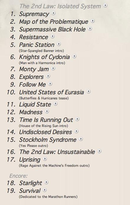 Muse Setlist